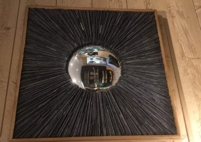 Ardoise et Miroir bombé carré