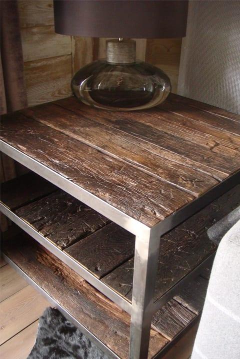 Bout de canapé fer et bois