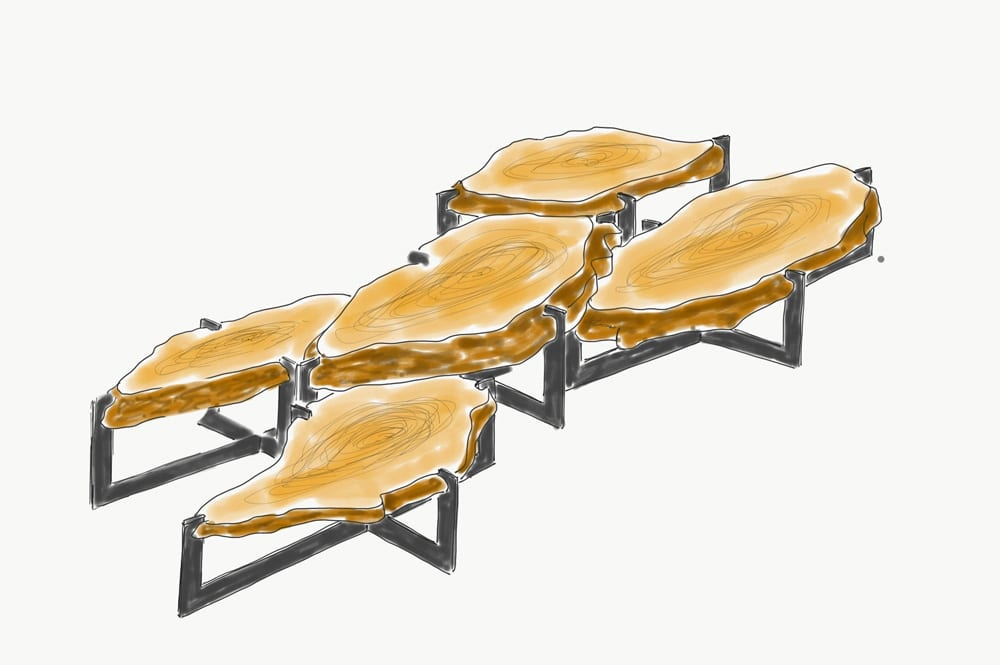 Table basse gigogne chêne et granit