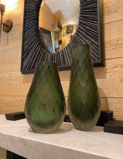 Vase Murano vert à facettes